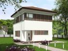 Проект индивидуального двухэтажного жилого дома с балконом